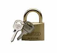 Abus Lock Small Single, 1-1/4 W Body, 3/16 Shackle Dia., 19/32 Vertical Clearance