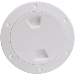 Beckson Marine 8 Smooth Screw-In Deck Plate, 10-1/8 Flange, 8-1/2 Cutout, White/Clear