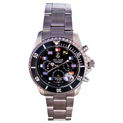 Men's Black Nautical Flag Dial Chronograph Watch
