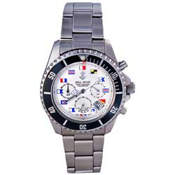 Men's White Nautical Flag Dial Chronograph Watch