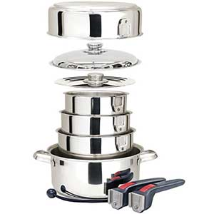 Ten-Piece Stainless-Steel Nesting Cookware Set