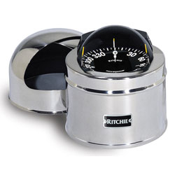Traditional Binnacle-Mount GlobeMaster Compass, Polished Stainless