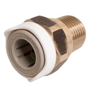 "Quick Connect Water System, Adapter, 1/2"" NPT Male to 15mm (Brass)"