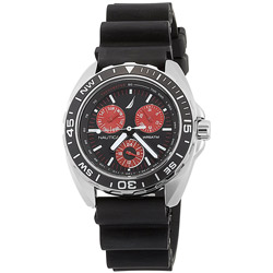 Men's Sport Ring Watch, Black Case with Red Dial