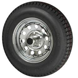Trailer Tires & Wheels - Modular Chrome, 14 x 6 Rim, 5 x 4.5 Bolt, 3.19 Hole, ST215/75D x 14, Bias, 1870 Capacity