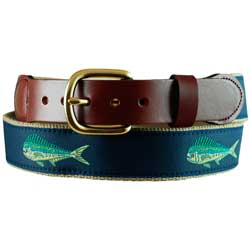 Men's Dolphin Leather Tab Belt