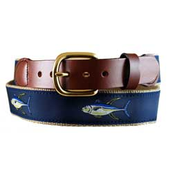Men's Yellow Fin Leather Tab Belt