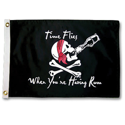 "Time Flies Pirate Flag 12"" x 18"""