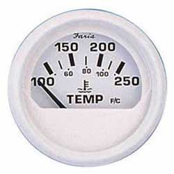 Faria Instruments Water Temperature Gauge - Dress White, 100-250F