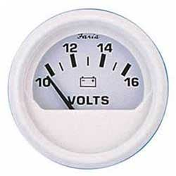 Faria Instruments Voltmeter - Dress White, 10-16v