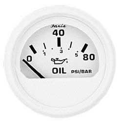 Faria Instruments Oil Pressure Gauge - Dress White, 100 Psi