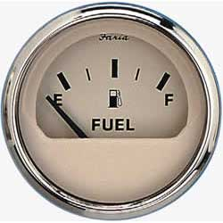 Faria Instruments Fuel Level Gauge, Euro Beige Stainless Steel, E-1/2-F