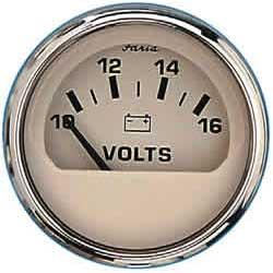 Faria Instruments Voltmeter - Euro Beige Stainless Steel - 10-16 vDC Sale $38.99 SKU: 11057114 ID# 15121 UPC# 759266151215 :