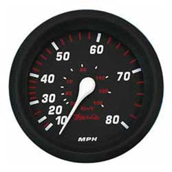 Faria Instruments Speedometer - Professional Red - 80 MPH