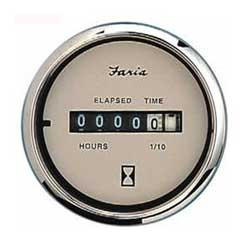 Faria Instruments Hourmeter, Euro Beige Stainless Steel, 10,000 hrs 12-32 vDC