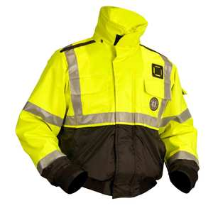 High Visibility Flotation Bomber Jacket, Large, Florescent Yellow/Green