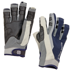 Men's 3/4-Finger Sailing Gloves, Navy/Gray, S