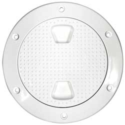 "Screw-in Deck Plate, 6"", Non-Skid, White"