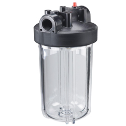 "Water Filter, Clear Sump/White Top, 4 13/16"" Dia., 12 1/2""High"