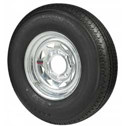 Radial Tire & Wheel Assembly, Galvanized, 16 x 8 Rim, 8 x 6.5 Bolt, ST235/80R16, Radial, 3800 Capacity