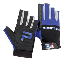 Battle Fishing Gloves, Half, Blue