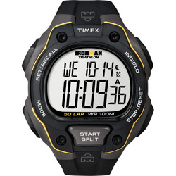 Ironman Triathlon 50-Lap Digital Chronograph Watch, Black & Yellow