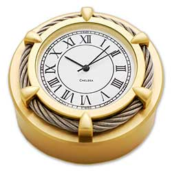 Cable Paper Weight Brass Clock