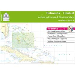 Bahamas Central, Andros to Exumas & Eleuthera Islands Chart Book with CD ROM