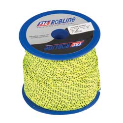 Polyester Braid Line Mini-Spool, 3mm, Yellow/Black Line, 49'
