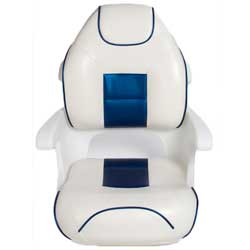 Ultimate Deluxe Elite Captains Helm Seat, White/Blue
