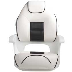 Ultimate Deluxe Elite Captains Helm Seat, White/Black