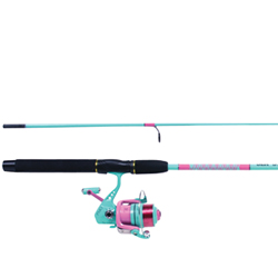 "Sea Striker Ladies Fresh Water Spinning Combo, 6'6"", Medium (FW); Light (SW), GR 5.2:1, Yds/Test 230/10lb."