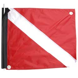 "Deluxe Nylon Dive Flag with Stiffener, 20""x24"", Velcro Attached"