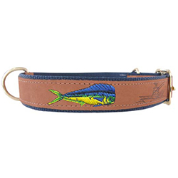 Dolphinfish Embroidered Dog Collar