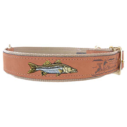 Snook Embroidered Dog Collar