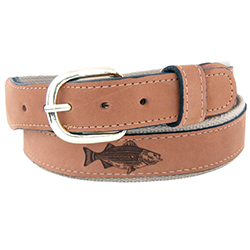 Men's Striped Bass Embossed Belt