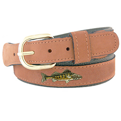 Men's Walleye Embroidered Belt