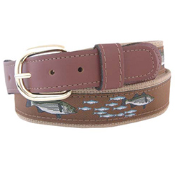 Men's Striped Bass Ribbon Belt