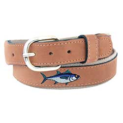 Men's Embroidered Blue Fin Tuna Belt