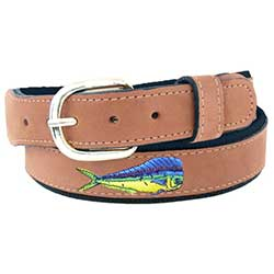 Men's Embroidered Dolphin Fish Belt