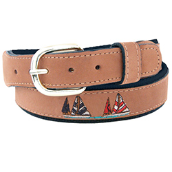 Men's Sailboat Embroidered Belt
