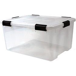 62.8 qt. Water Tight Storage Box, Clear