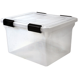 32 qt. Letter/Legal Size Water Tight File Box, Clear