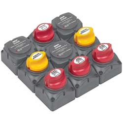 Battery Distribution Cluster for Triple Outboard Engine with Four Battery Banks