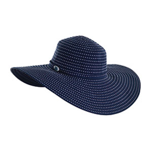 Women's Top-Stitch Ribbon Hat, Navy