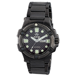 Meltdown Carbon Fiber Nitrided Bracelet Watch, Black