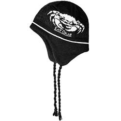 Eat Crab Knitted Flap Cap, Black