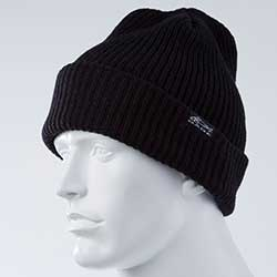 Gage Knitted Brim Beanie, Black