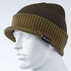 Gage Knitted Brim Beanie, Olive & Orange