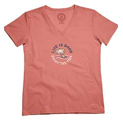 Women's Enjoy The Tide Short-Sleeve Crusher V-Neck Tee